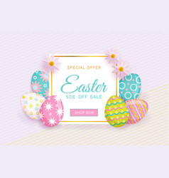 easter sale banner with text eggs and flowers vector image