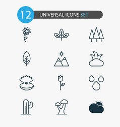 ecology icons set with clear sunrise raindrop vector image