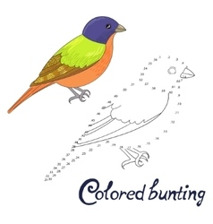Educational game connect dots to draw bird vector