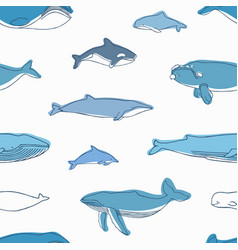 Elegant seamless pattern with different aquatic vector