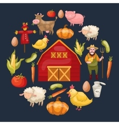 Farming Elements Round Composition vector