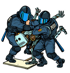 fighting future police arrest a protesting vector image