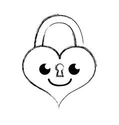 Figure smile heart padlock kawaii personage vector