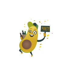 flat funny avocado fruit character beer vector image