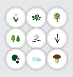 Flat icon natural set of forest tree lotus and vector