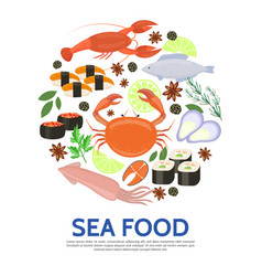 Flat seafood round concept vector