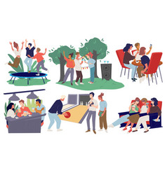 friends gathered for weekend fun activities rest vector image