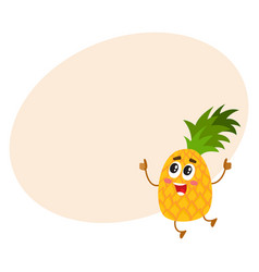 funny pineapple character jumping and showing vector image
