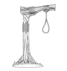 Gallows sketch device for hanging for coloring vector