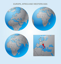 Globe set with borders countries vector