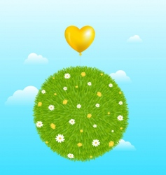 grass ball with yellow balloon vector image