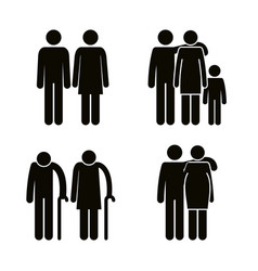 Group of family members avatars silhouettes vector
