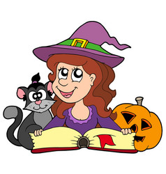 Halloween girl reading book vector