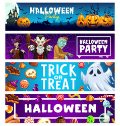 halloween party banners pumpkins ghosts candies vector image