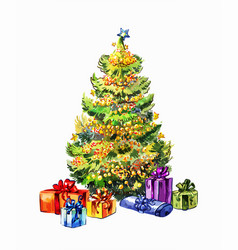 hand-drawn chtistmas tree with gifts isolated on vector image