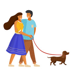 happy family walking dog girl holds dog collar vector image