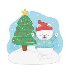 happy merry christmas card with bear teddy and vector image
