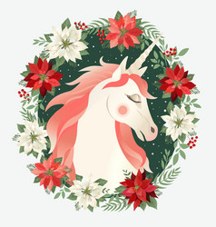 head of hand drawn unicorn with floral wreath vector image