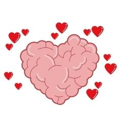 Heart shaped brain icon vector