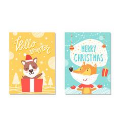 hello winter christmas poster vector image