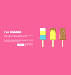 hot summer poster with chocolate fruit ice cream vector image