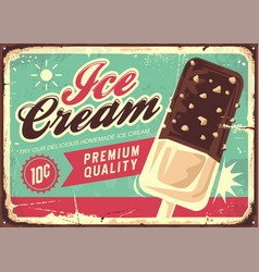 ice cream vintage tin sign vector image