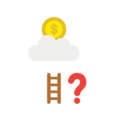 icon concept of dollar coin on cloud with short vector image