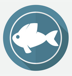 icon fish on white circle with a long shadow vector image