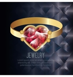 Icon ring gold gem isolated vector