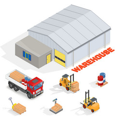 Isometric warehouse with office vector