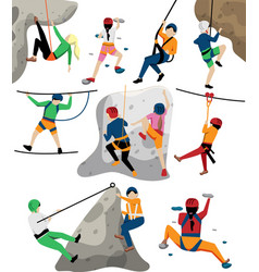 Kid climbing on rock wall and in adventure rope vector