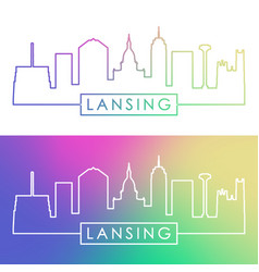 lansing skyline colorful linear style editable vector image