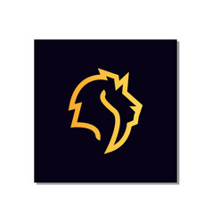 line art lion head logo design with line art style vector image