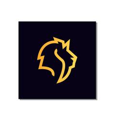 line art lion head logo design with line art style vector image