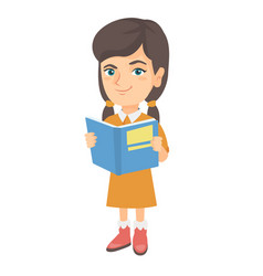 little caucasian schoolgirl reading a book vector image