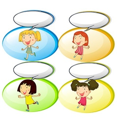 Little girls and communication bubbles vector