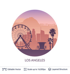 los angeles famous city scape vector image