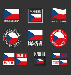 made in czech labels set czechia product emblem vector image