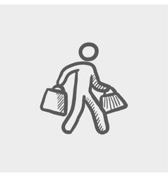 Man carrying shopping bags sktech icon vector