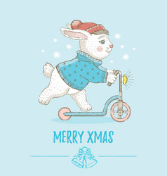merry christmas card cute animal poster for xmas vector image