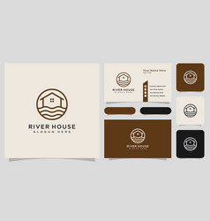 Minimalist line abstract house with river logo vector