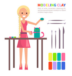 Modeling clay banner with woman making cat vector