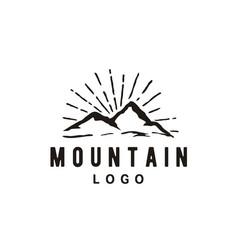 mountain adventure vintage retro hipster logo vector image
