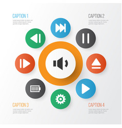 Music icons set with setting eject play and vector