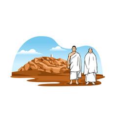 Muslim pilgrims with background scenery mount vector