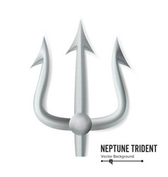 neptune trident silver realistic 3d vector image