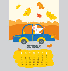 october calendar page with cute rat driving car vector image