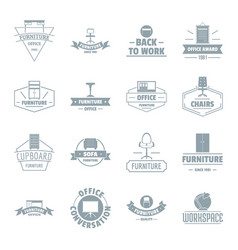 Office furniture logo icons set simple style vector