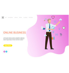 online business web poster man arranging icons vector image