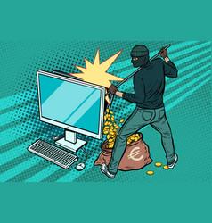 online hacker steals euro money from computer vector image